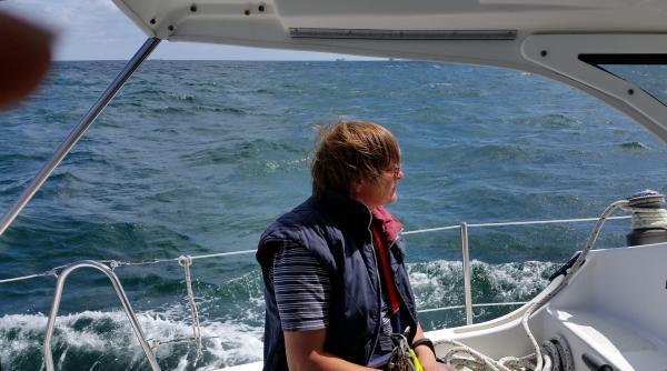 Nach Aufbruch in Helgoland auf See