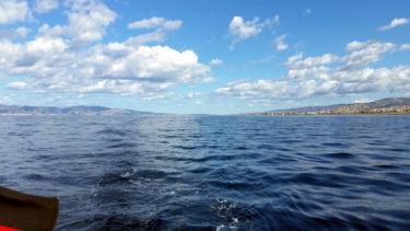 Blick zurück auf die Straße von Messina