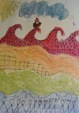 Meerkat beim Wellensurfen